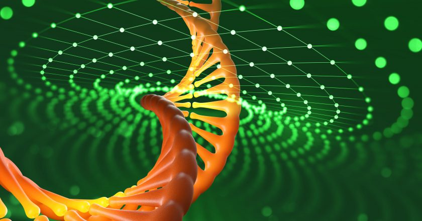 DNA helix. Innovative technologies in research of the human genome. Artificial intelligence in the medicine of the future