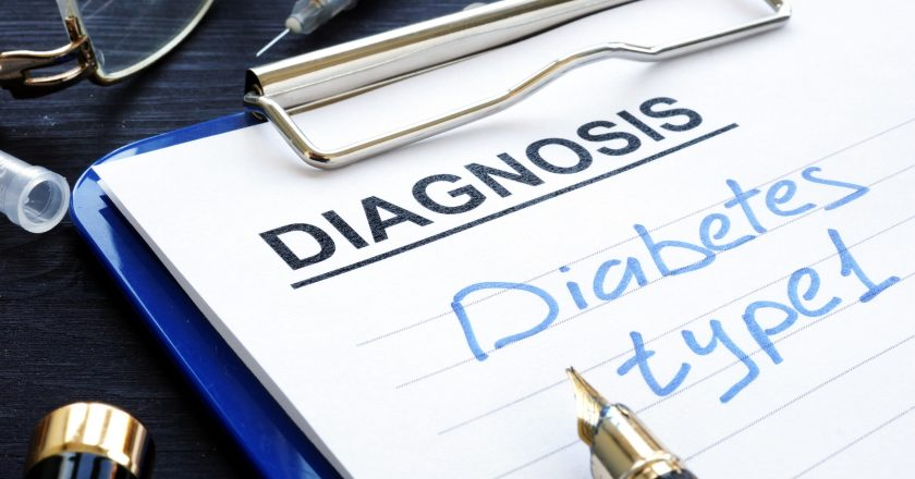 Diabetes type 1 written in medical report.