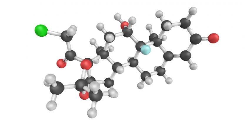 3d structure of Halcinonide, a high potency corticosteroid.