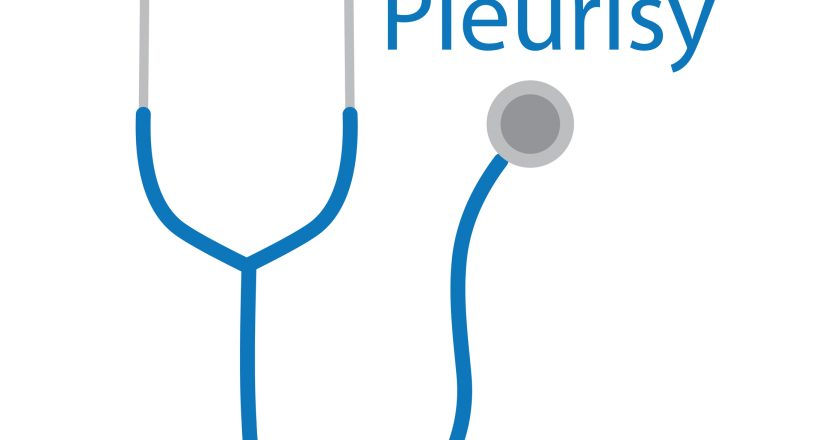 Pleurisy word and stethoscope icon