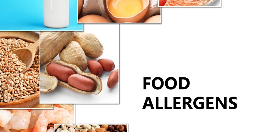 Set of different products causing food allergies