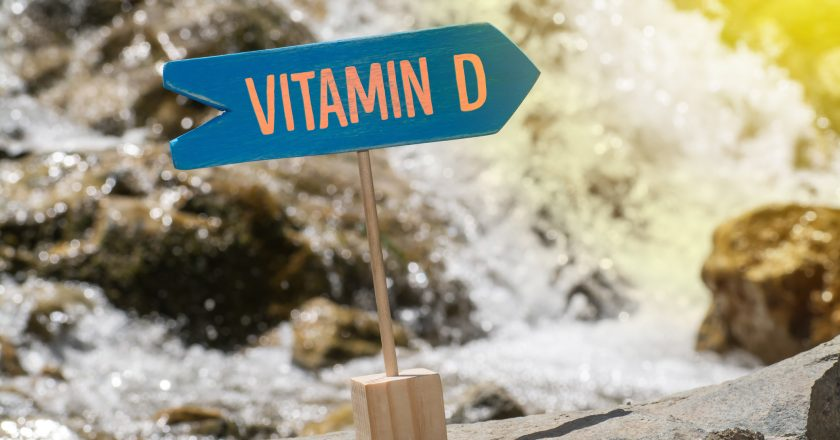Vitamin d sign board on rock |