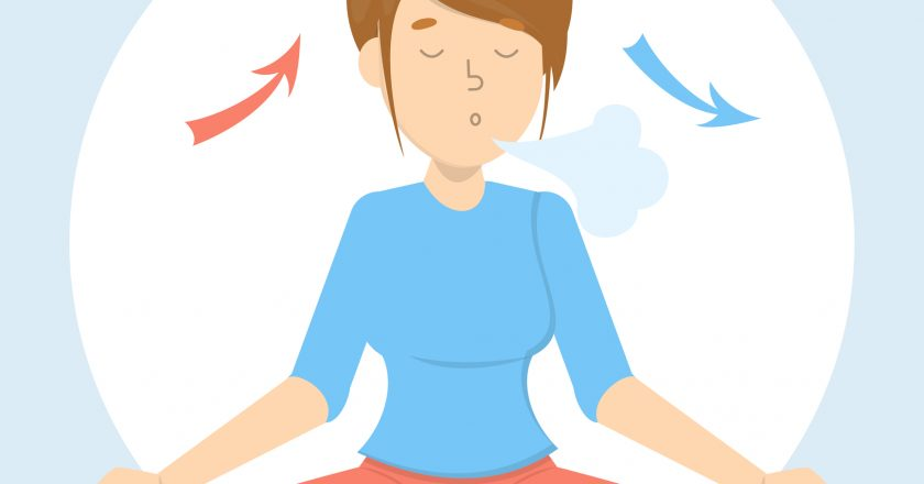 Breath exercise for good relaxation. Breathe in and out |