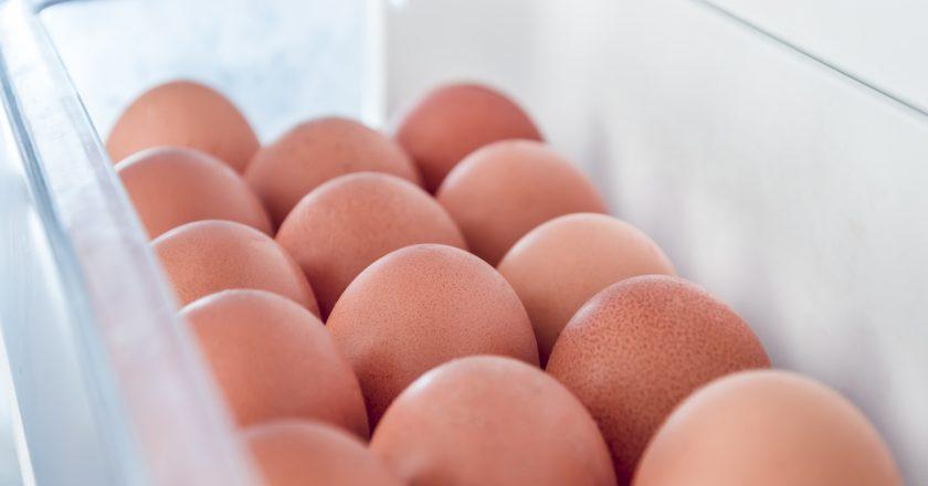 Chicken eggs in the fridge |