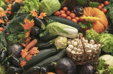 Colorful natural background of fresh organic vegetables. Vegeterian food, diet and healthy life concept. Top view |