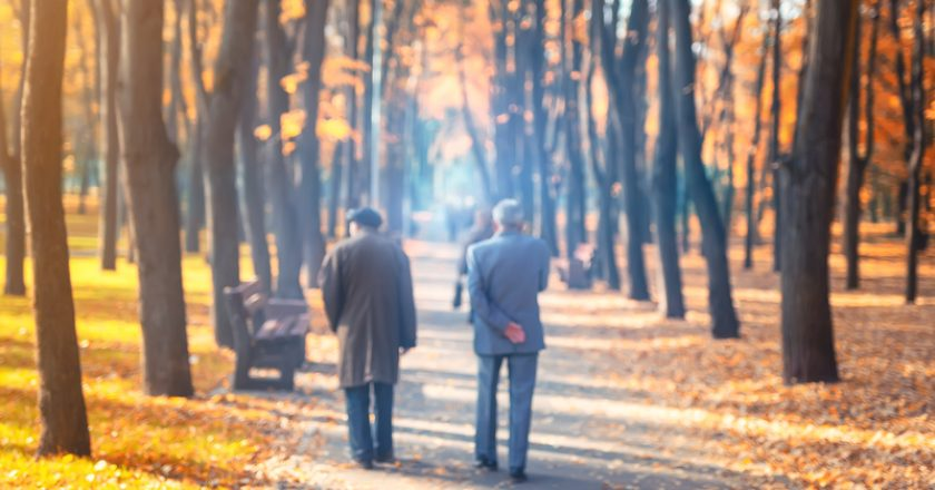Two senior friends man walking along beautiful colorful autumn city park. Pair of old age persons talking during walk at beautiful | © Kyryl Gorlov | Dreamstime Stock Photos