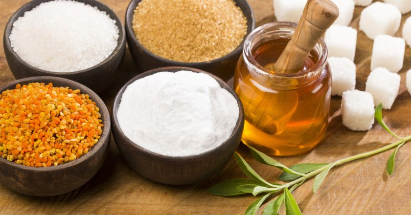 Variety of sweeteners - Sugar, stevia leaves, pollen and honey | © Luis Echeverri Urrea | Dreamstime Stock Photos