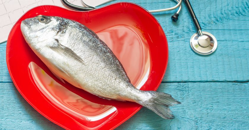 Fish on red heart plate and stethoscope |
