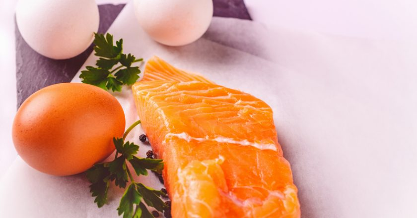 Healthy food, proteins, cooking and diet concept - close up of salmon fillet, eggs and parsley on white background. | © Anna Draganova | Dreamstime Stock Photos