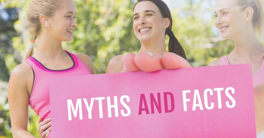 Myths and facts Text and Hand holding card with pink breast cancer awareness women | © Wavebreakmedia Ltd | Dreamstime Stock Photos