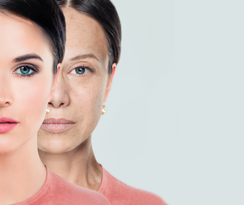 Female face. Aging and youth. Young and older woman | © Millafedotova | Dreamstime Stock Photos