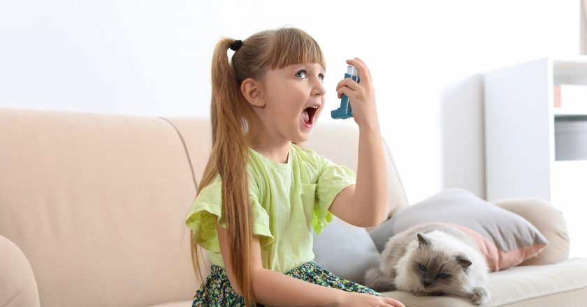 Little girl using asthma inhaler near cat at home