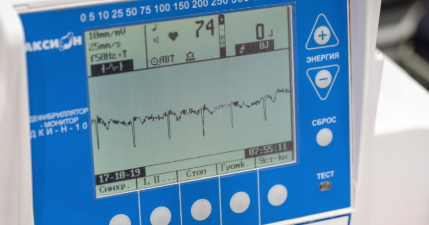 Close-up view of Russian defibrillator monitor for life-threatening cardiac dysrhythmias, ventricular fibrillation, non-perfusing