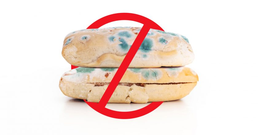 Danger, toxic and expired foods. Old expired sandwich breads with not allow sign symbol, isolated on white background | © Sasinparaksa | Dreamstime Stock Photos