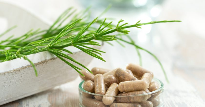 Horstail Herbs with alternative medicine herbal supplements and ptablet with glass mortar | © Jpcprod | Dreamstime Stock Photos