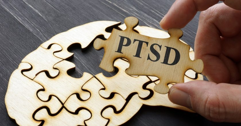 PTSD Post Traumatic Stress written on the puzzle |