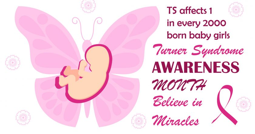 Turner Syndrome awareness month is celebrated ib February. Pink butterfly symbol vector on white background . Believe in miracles |
