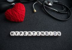 Word heart hypertension from white cubes with letters on dark ba |