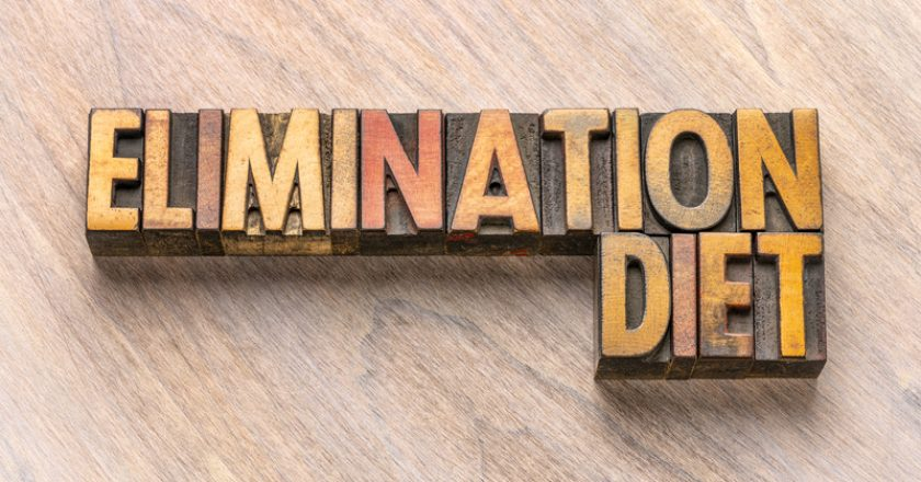 Elimination diet word abstract in wood type |