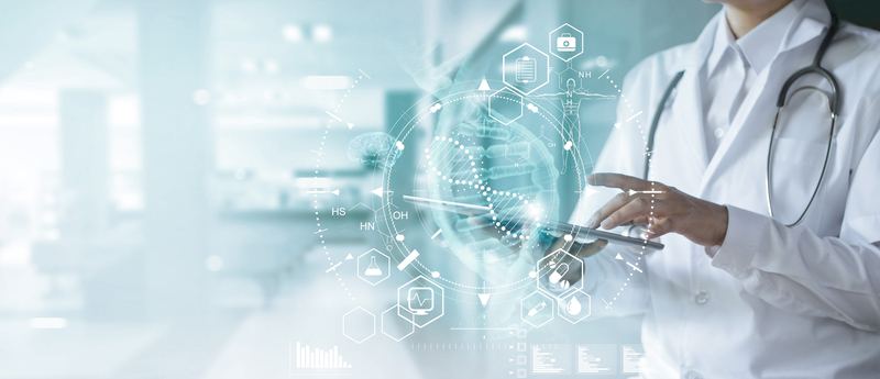 Medicine doctor touching electronic medical record on tablet. DNA. Digital healthcare and network connection on hologram. |