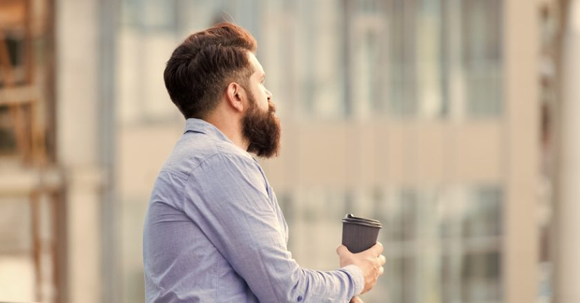 Set up for new day. Daily rituals. Morning coffee concept. Caffeine energy charge. Personal efficiency. Guy bearded | © Photosvit | Dreamstime Stock Photos