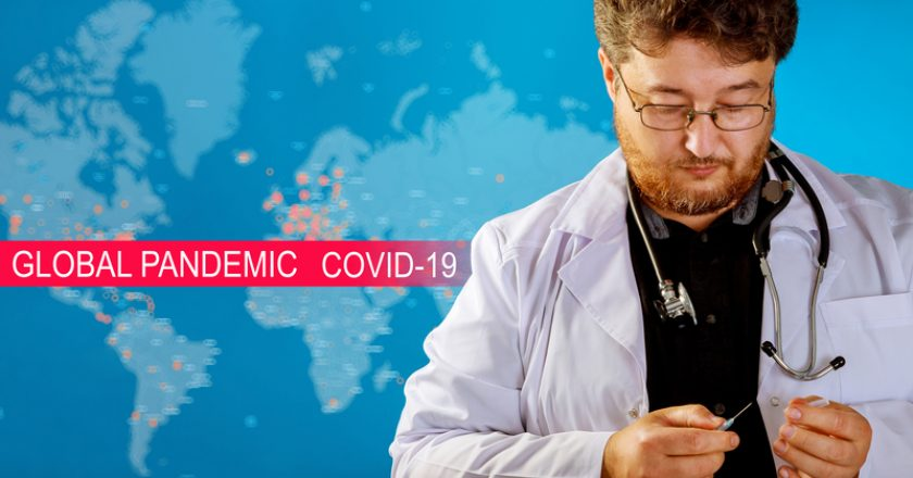 Global pandemic with coronavirus COVID-19 for Medical working with laboratory |