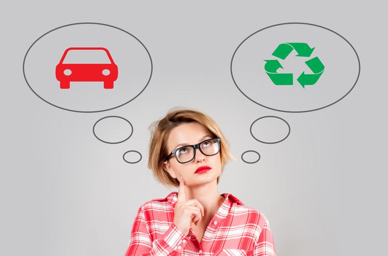 Woman make choice: environmental pollution or environment protection. |