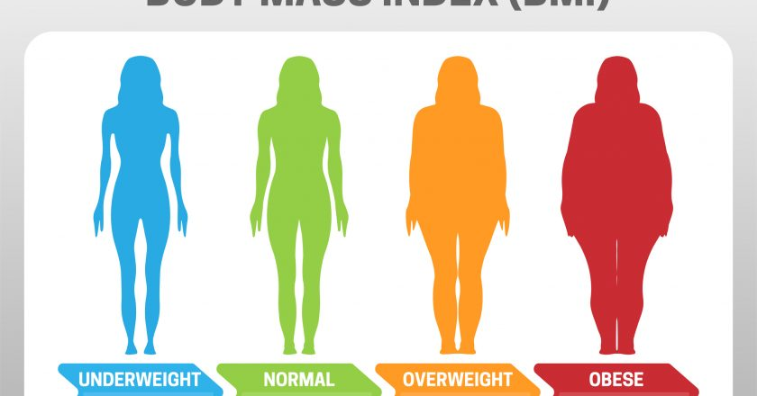 BMI Body Mass Index Vector Illustration with Woman Silhouette from Underweight to Obese. Obesity degrees with different weight | © Ciniangela | Dreamstime Stock Photos