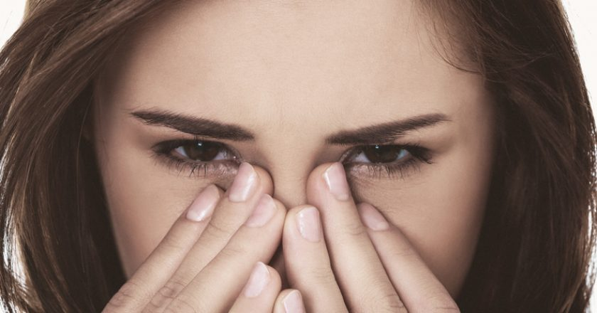 Woman suffer becouse of sinusitis. | © B-d-s | Dreamstime Stock Photos