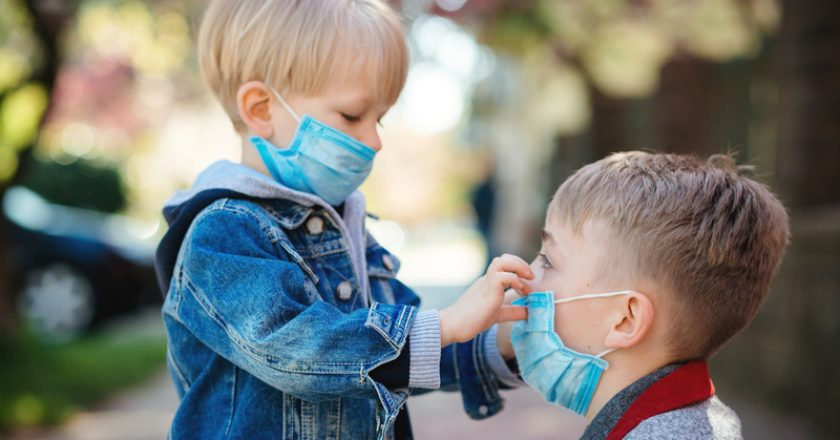 Prevention coronavirus. Kids in safety masks on a walk. Coronavirus outbreak | © Muhmed | Dreamstime Stock Photos