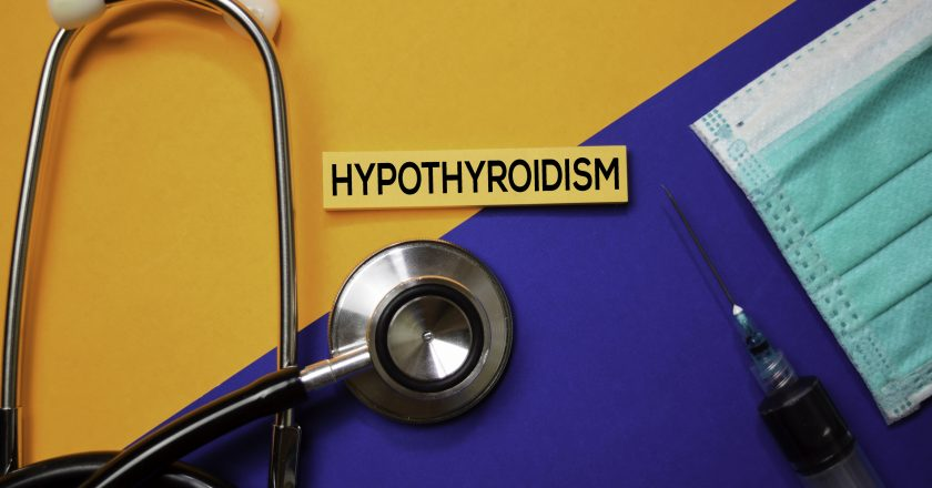 Hypothyroidism text on Sticky Notes. Top view isolated on color background. Healthcare/Medical concept