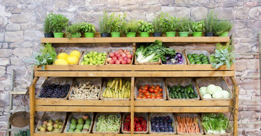 Fruit vegetables shelves background | © Philfreez | Dreamstime Stock Photos